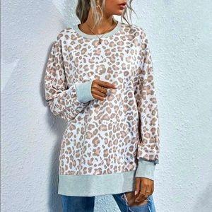NWT! Leopard Print Slit Hem Drop Shoulder Sweater